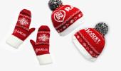 Вязаные шарфы и шапки с логотипом